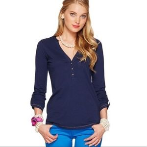 Lilly Pulitzer Janelle Navy Henley w Gold Buttons